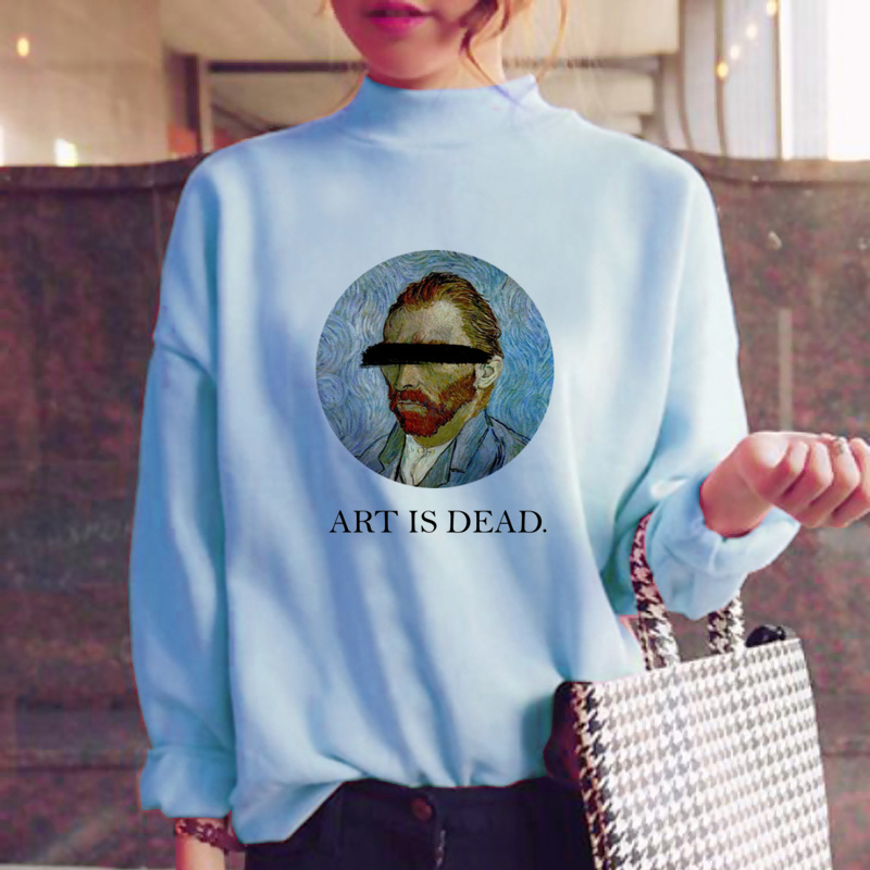 Van Gogh Hoodies Women Harajuku Fashion Sweatshirt Fleece Japanese Oversized Sweatshirt Female Blue