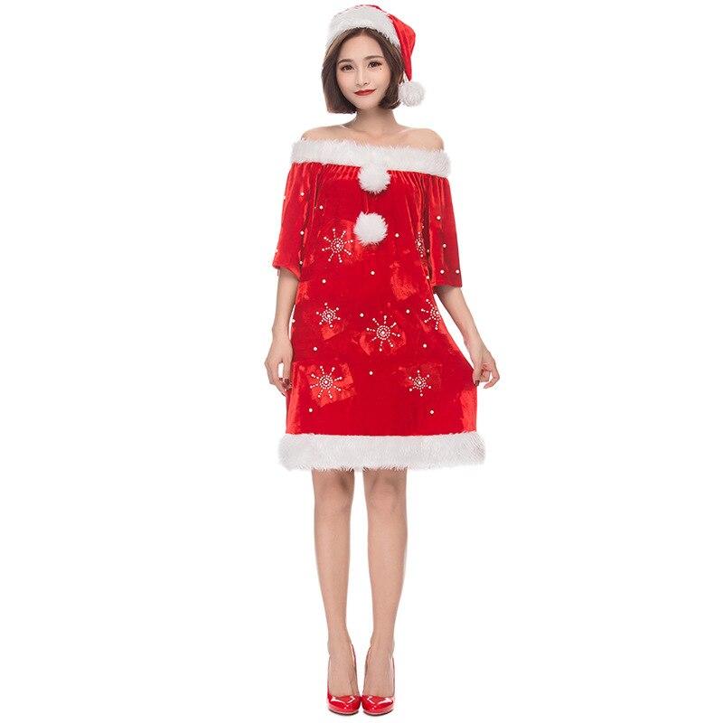Adulte femmes en peluche flocon de neige Miss Santa noël manteau rouge avec Costume de chapeau