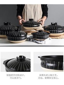 керамические кастрюли | Японская Ретро черная керамика глина кастрюля Бытовая жаростойкая кастрюля суп горячий горшок воюющая тушеная сковорода для приготовлени...
