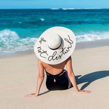 Hawaiian straw hat Letter Embroidery Will Eaves Sun Hat Straw Maam Summer You Sandy Beach Sunscreen Foldable