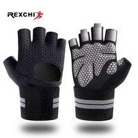 REXCHI Половина Finger перчатки для спортзала для занятий фитнесом с запястья обёрточная бумага поддержка для мужчин женщин Crossfit тренировки мощн...