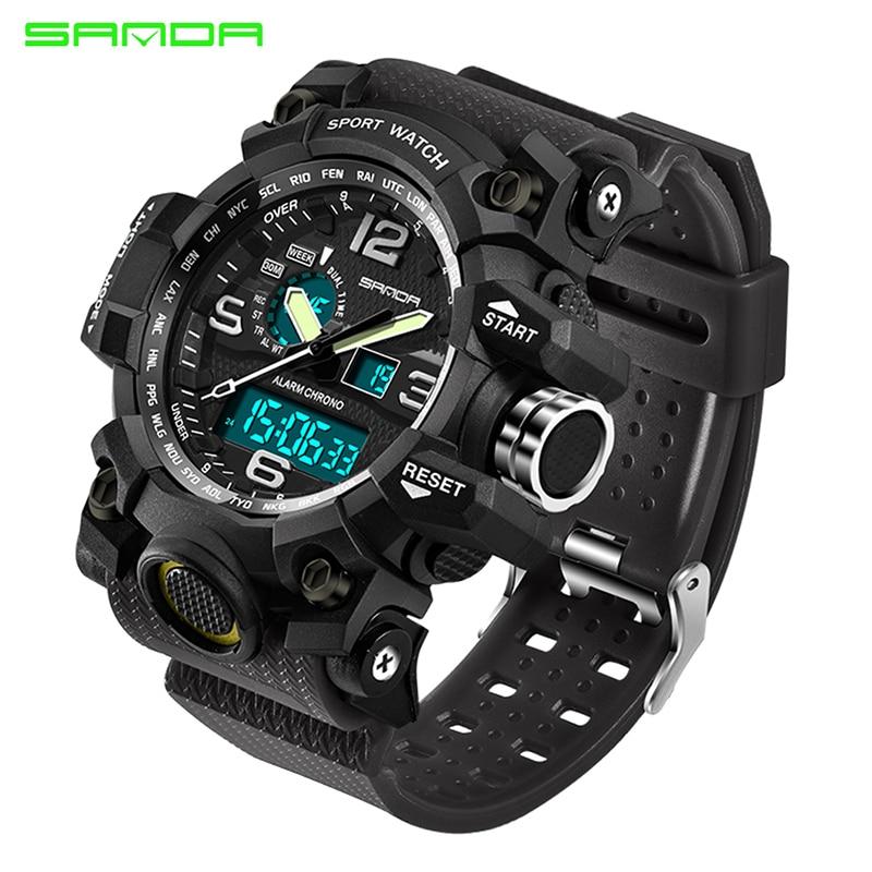 Beschouwend 2019 Mannen Sport Militaire Horloge Top Merk Luxe Led Digitale Horloge Mannelijke Klok Reloj Hombre Erkek Kol Saati Sanda 742