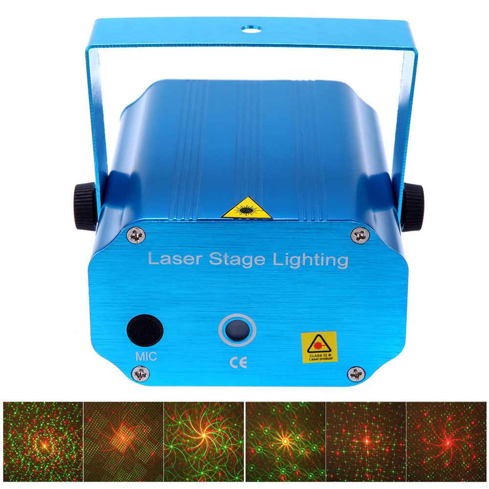 Мини светодиодный лазерный проектор рождественские украшения Лазерное освещение для дискотеки лазерный свет Dj Голосовая активация DJ диско рождественские вечерние клубный свет