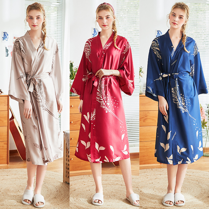 2019 Women Silk Flower Print Dressing Gowns Female Satin Bride Long Sleeve Kimono Bathrobe Bridesmaid Bathrobe Sleepwear in Robes from Underwear Sleepwears