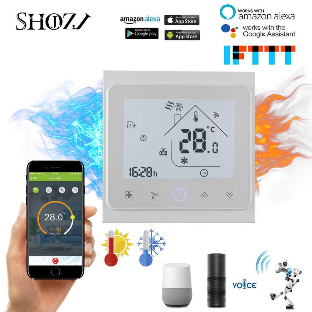 TUYA 2 rura 4 rura cewki wentylatora programowalny bezprzewodowy klimatyzator termostat regulator temperatury pracę urządzenia z Alexa