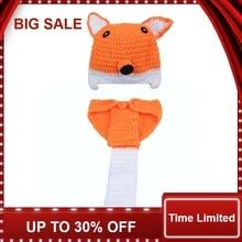 Crochet Fox Design Baby Hat and Pants Set Infant Photography Props Hats Diaper Cover  1 set