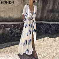 9f6e037f04e Богемные Женская одежда с рисунком 2019 VONDA лето сексуальный v-образный  вырез спереди длинное раздельное