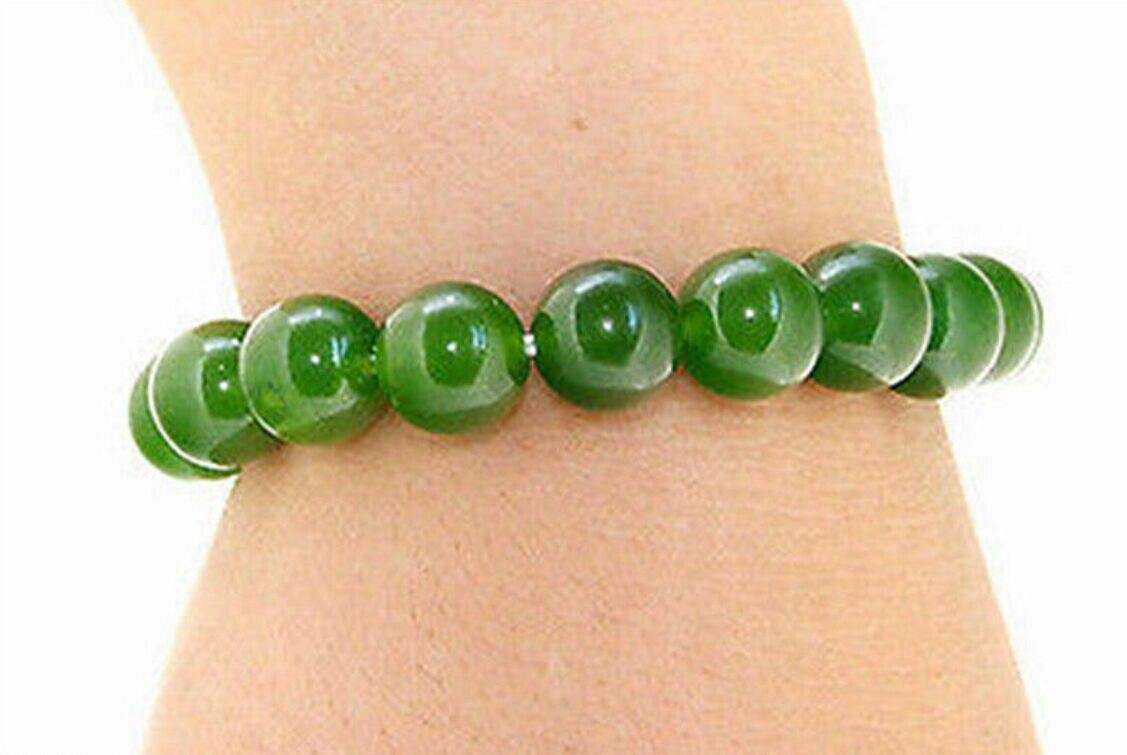 Handmade 10mm Verde Natural Jade Rodada Gemstone Beads Elástico Pulseira 7.5