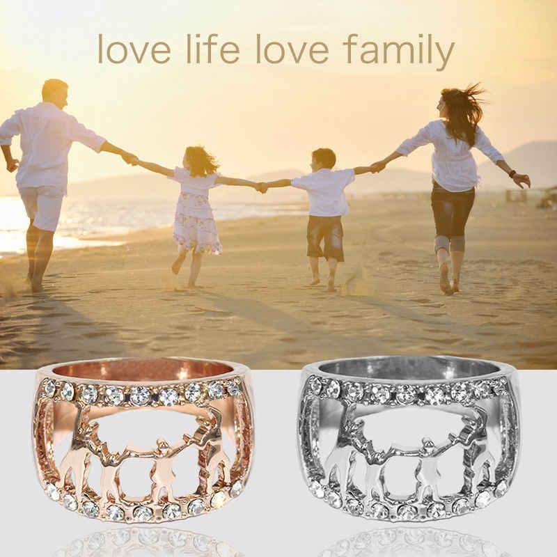 ผู้หญิงแหวนเงินครอบครัว Key Rhinestone Happy Family แหวนแม่พ่อเด็กหมุนแหวนของขวัญครอบครัว Hollow เครื่องประดับ
