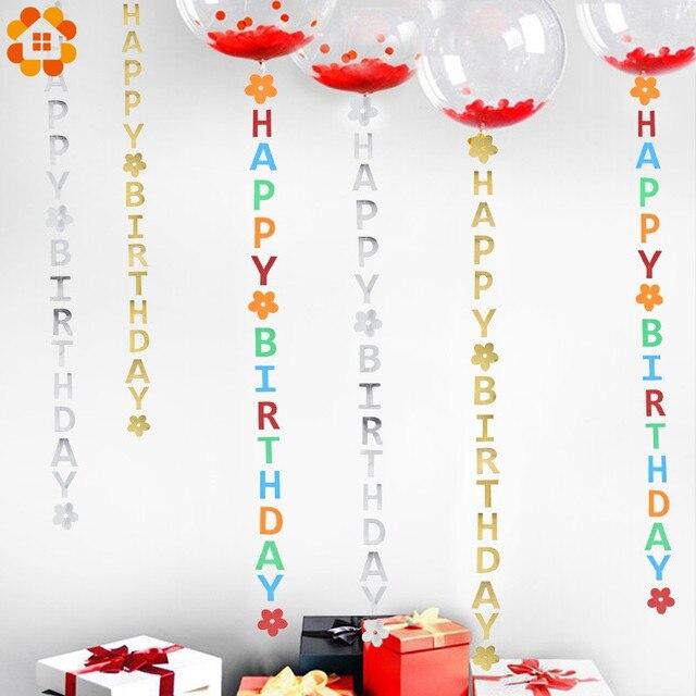 1 takım DIY altın/gümüş/renkli kağıt mutlu doğum günü bayrakları Garland afişler mektup çelenk bebek çocuk doğum günü parti dekorasyon