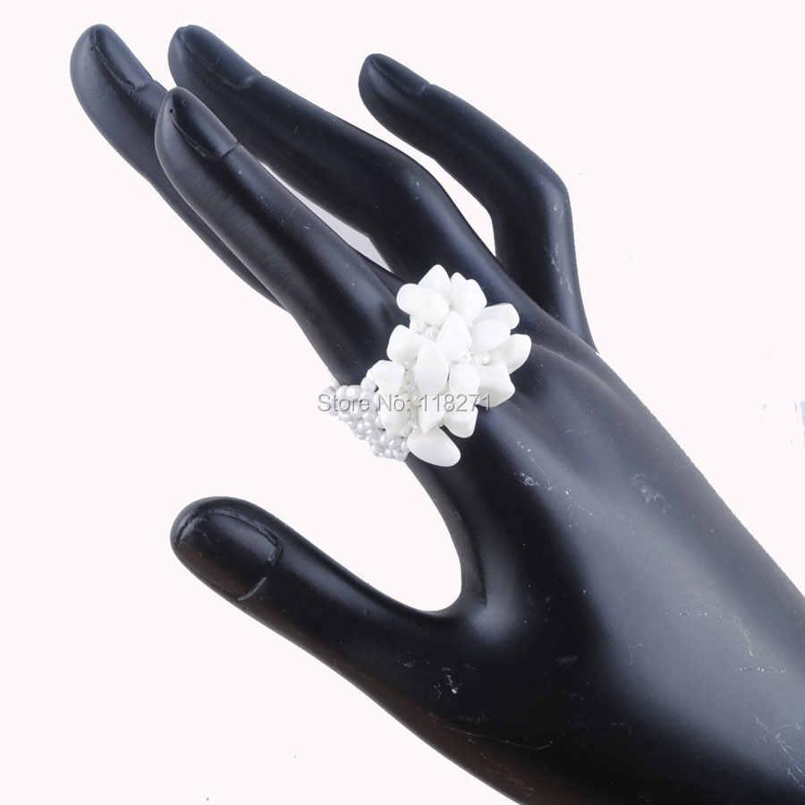 WOJIAER ธรรมชาติไม่สม่ำเสมอแหวนหินอัญมณีสำหรับสุภาพสตรีสีขาว Jades ยืดออสเตรียแหวนเครื่องประดับ PJ3017