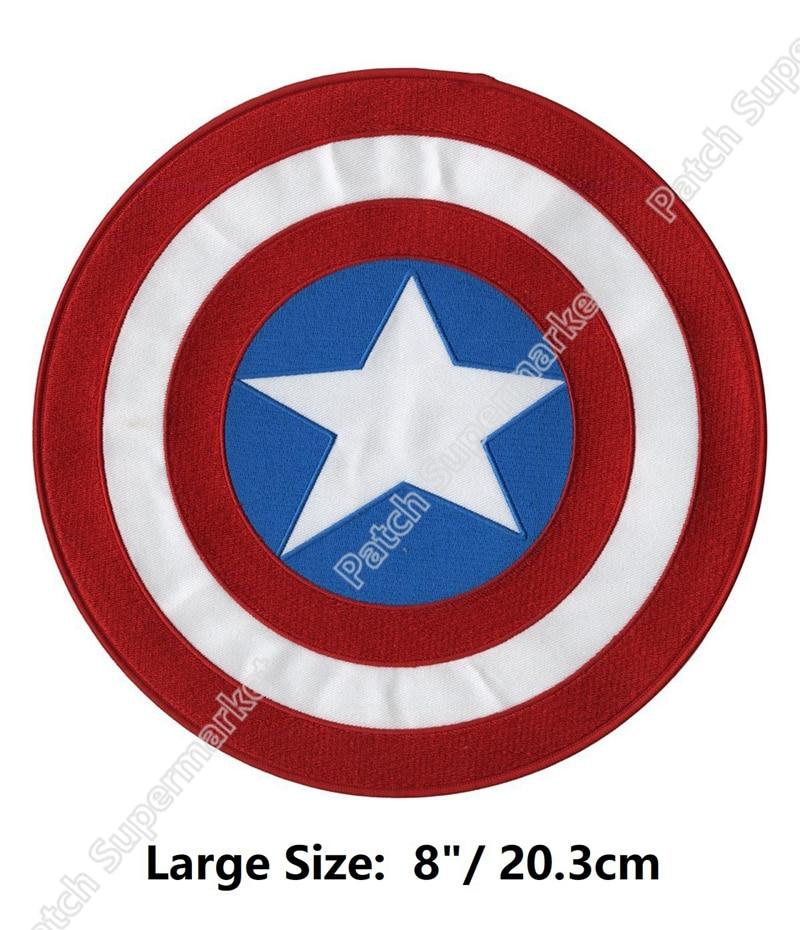 """8 """"Grande XL Capitán América vengadores escudo película bordada película tv series volver parche Halloween chaqueta Marvel Comics disfraz-in Parches from Hogar y Mascotas    1"""