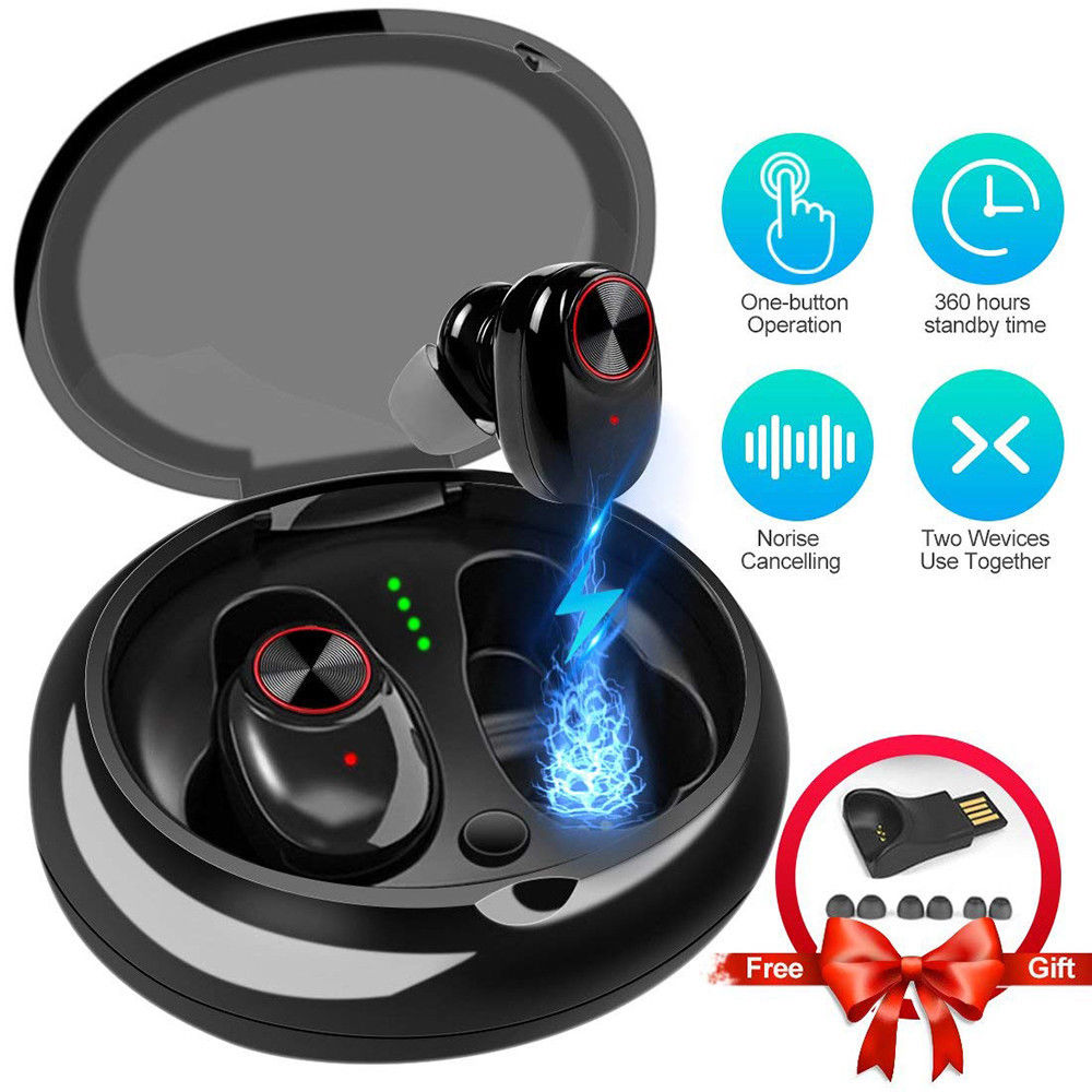 <font><b>V5</b></font> <font><b>TWS</b></font> Earphone mini 5.0 Wireless Earbuds Bluetooth Headset True Bass Twins Sport Stereo Earphone with QI-Enabled Charging Case image