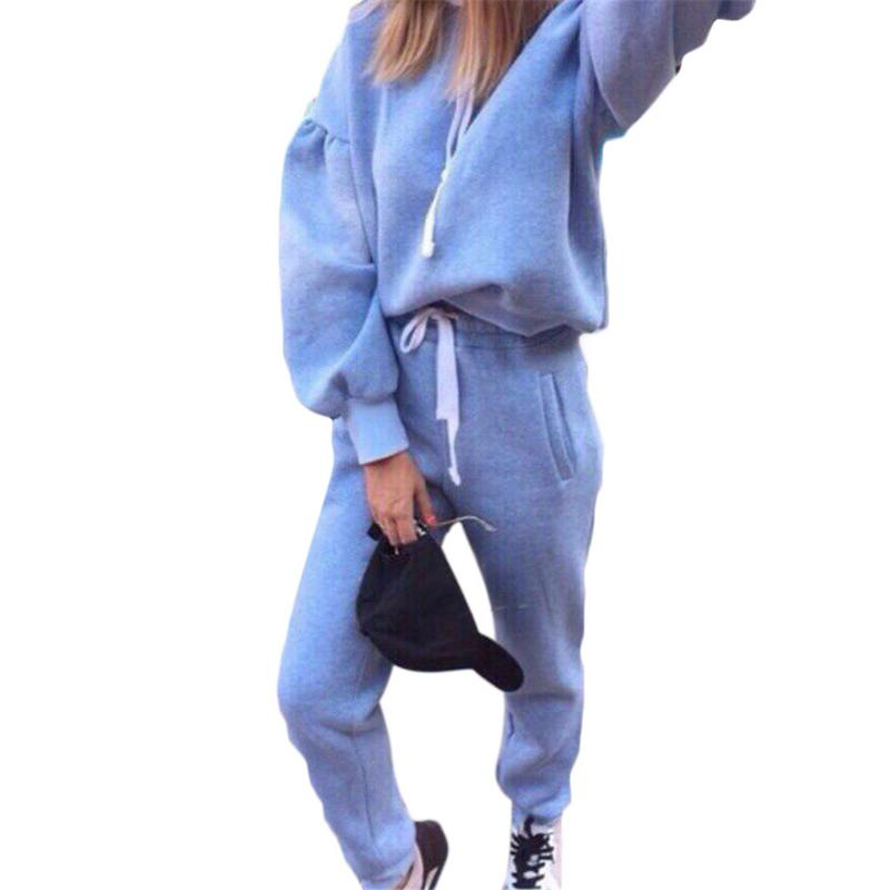 Ladies Long-sleeved Hooded Sweatshirt Sports Suit High Street 2Pcs Set Women Tracksuit Hoodies + Pants Sport Wear Suit Clothes