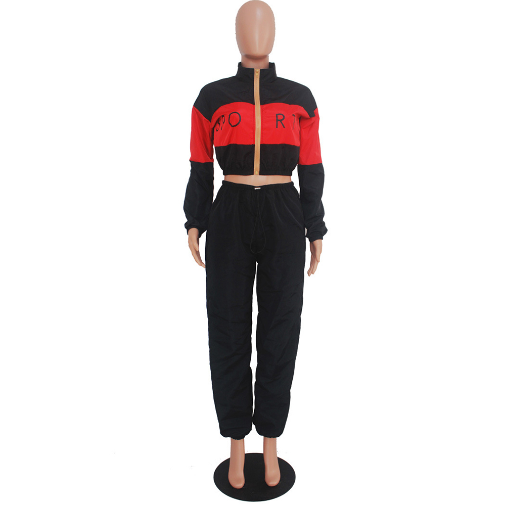 YJSFG HOUSE 2pcs Fashion Women Sets Long Sleeve Zipped Bodycon Jumpsuit Casual Tracksuits Sportswear Crop Tops Long Pants Suits in Women 39 s Sets from Women 39 s Clothing
