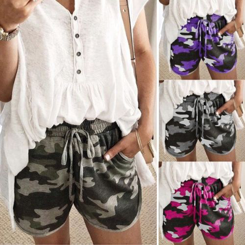 2018 Brand New Fashion Women Casual Short Bottoms Camo Summer Sports Hot Short Camouflage  Bottoms Plus Size