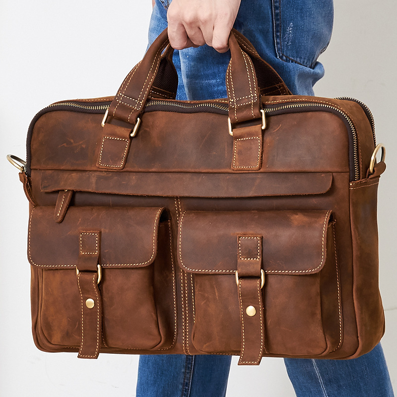 Crazy Horse Leather Briefcase Bag Multi-Pocket 15.6 Inch Handbag Crossbody Laptop S681-40 Men Sacoche Homme Document Laptop Case