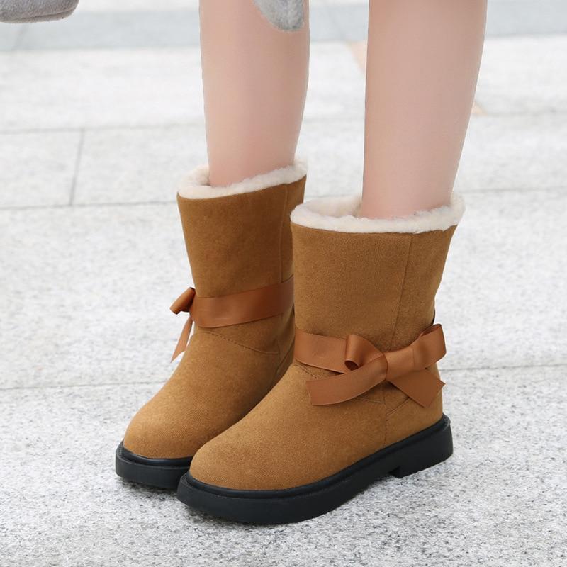 Nuevo Libre Bowknot Zapatos Mujeres De Al Señoras Lazos Cuero Las Arco Black Invierno white Planos Ante brown Botas Abrigo Correa Nieve Aire P0xq6x