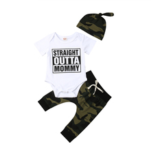 3PCS Toddler Boys Clothing Set Newborn Baby Clothing Romper Tops+Pants+Hat Outfits Camo Baby Clothes Cotton Boys Summer Clothes new 3pcs newborn baby boys girls christmas clothes crawl walk hunt romper deer pants hats caps xmas elk outfits toddler baby set