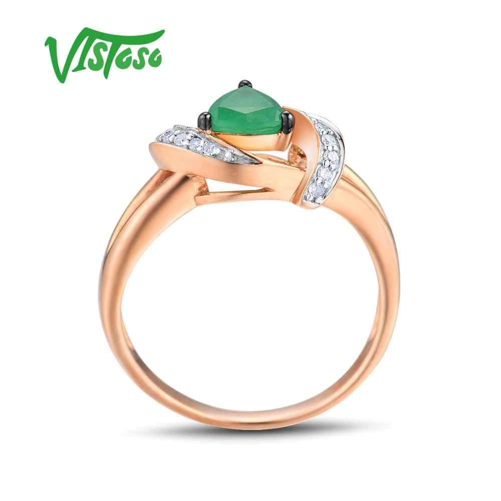 VISTOSO แหวนทองแท้ 14K 585 Rose Gold แหวน Magic มรกตประกายเพชรครบรอบเครื่องประดับ Fine