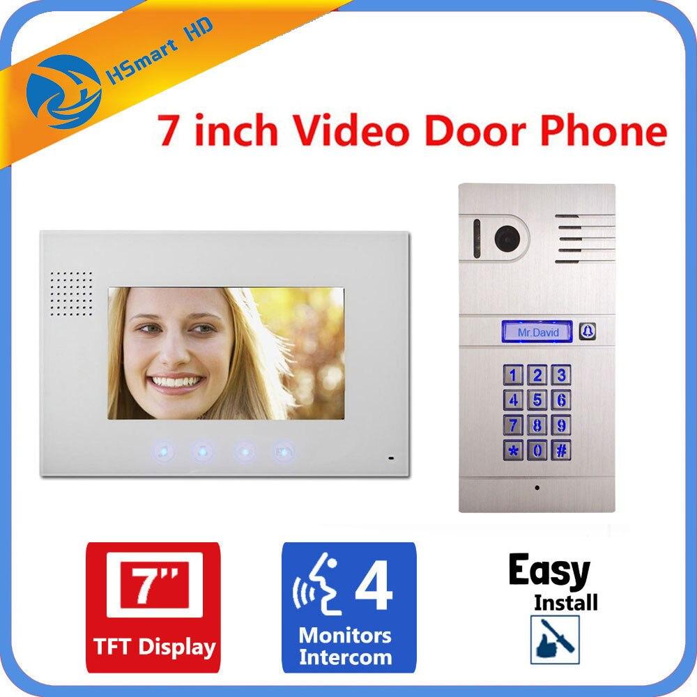 7 Inch Monitor Password Video Door Phone Intercom Doorbell With IR Camera System Indoor Monitor