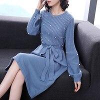 Chic 2018 Winter Pearl Sweater Dress Women O Neck Long Sleeve Thick Knit Dress Female Slim Work Midi Dress