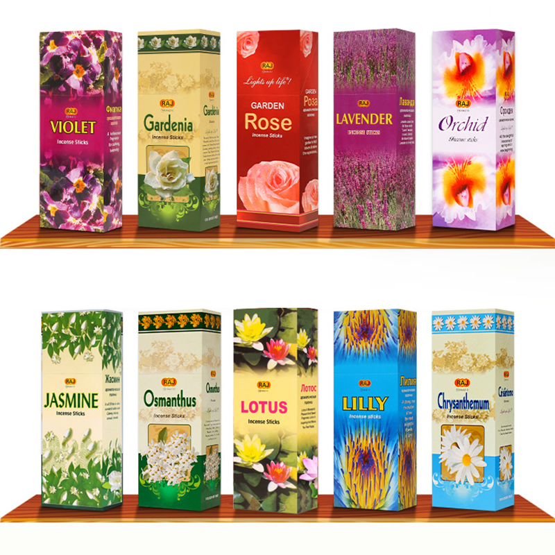 Floral India Stick Incense 16 Smells Natural Indian Incense Sticks Jasmine Lotus High Quality Incenses Can Fit Wooden Burner