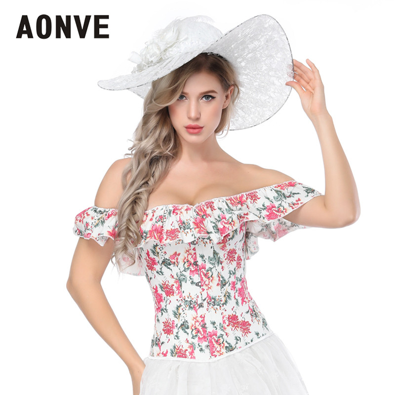 Aonve White Overbust Corset For Women Sexy Bustier Rave Clothes Korse Floral Print Sweet Ruffles Bustiers Mujer Korset S-2XL