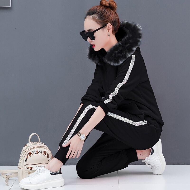 Mode Hoodies Capuchon Ensemble Nouveau Velours Deux 2018 Plus piece Pantalon À Épaississement Le Costume Outfit Hiver Polaire Loisirs Pleuche Vêtements vx6qqnwPf