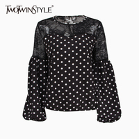 TWOTWINSTYLE Patchwork Lace Polka Dot Blouse Shirt Female Lantern Sleeve Blouses Tops Women Casual Clothes 2018 Summer New