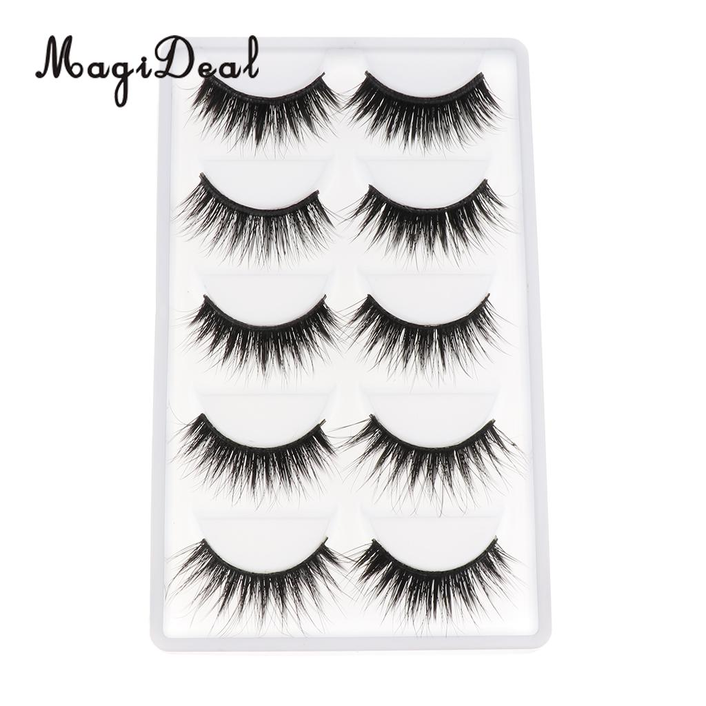 MagiDeal High Quality 5 Pairs Black Fake Fiber Eyelashes For 12 Inch Dolls DIY Making Repair Accessories Kids Play Funny Toy