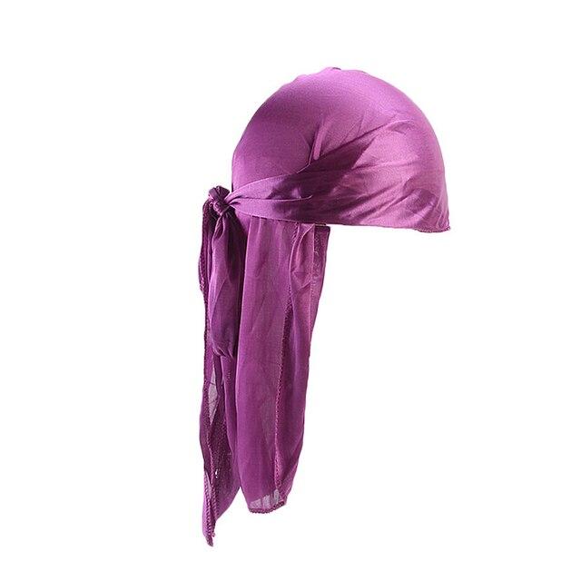 2019 New Unisex Long Silk Satin Breathable Turban Hat Wigs Doo Durag Biker Headwrap Chemo Cap Pirate Hat Men Hair Accessories 4