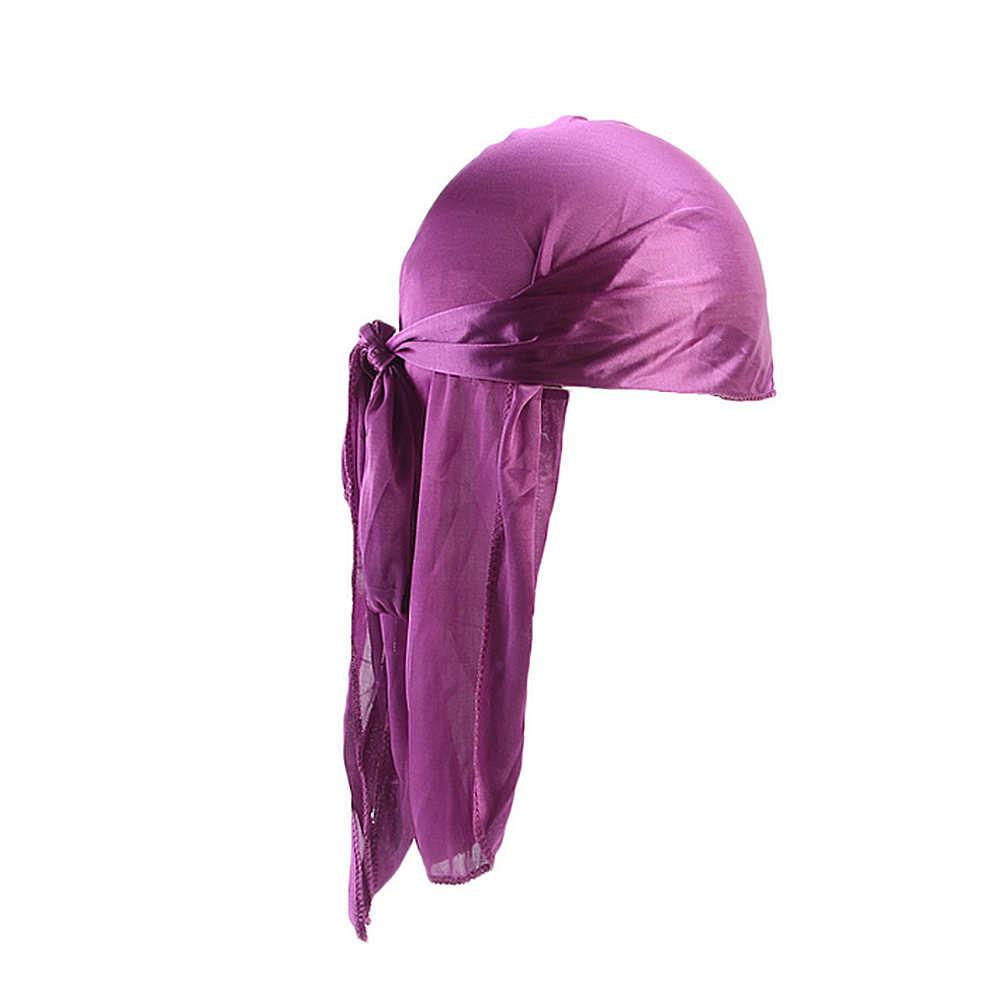 2019 새로운 유니섹스 긴 실크 새틴 통기성 Turban 모자 가발 두 Durag 바이커 Headwrap Chemo 모자 해적 모자 남자 헤어 액세서리