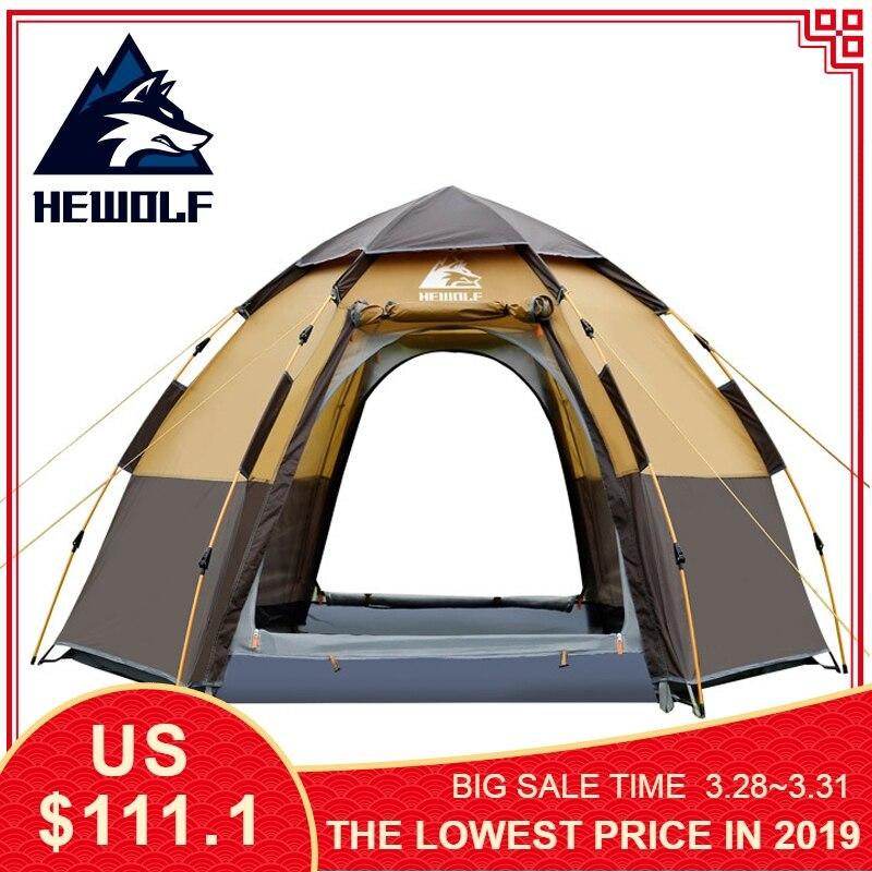 Hewolf Rapide Automatique Tente Ouverte 5 Personne couche double Grand Camping Famille Pour Loisirs de Plein Air Tentes de réception Auvent tente de plage