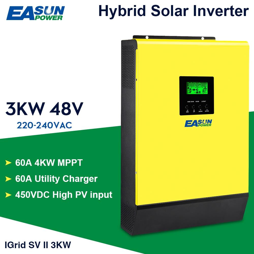 EASUN POWER Grid Tied Inverter 3000W 48V 220V Hybrid Solar inverter 450Vdc PV Input 60A MPPT