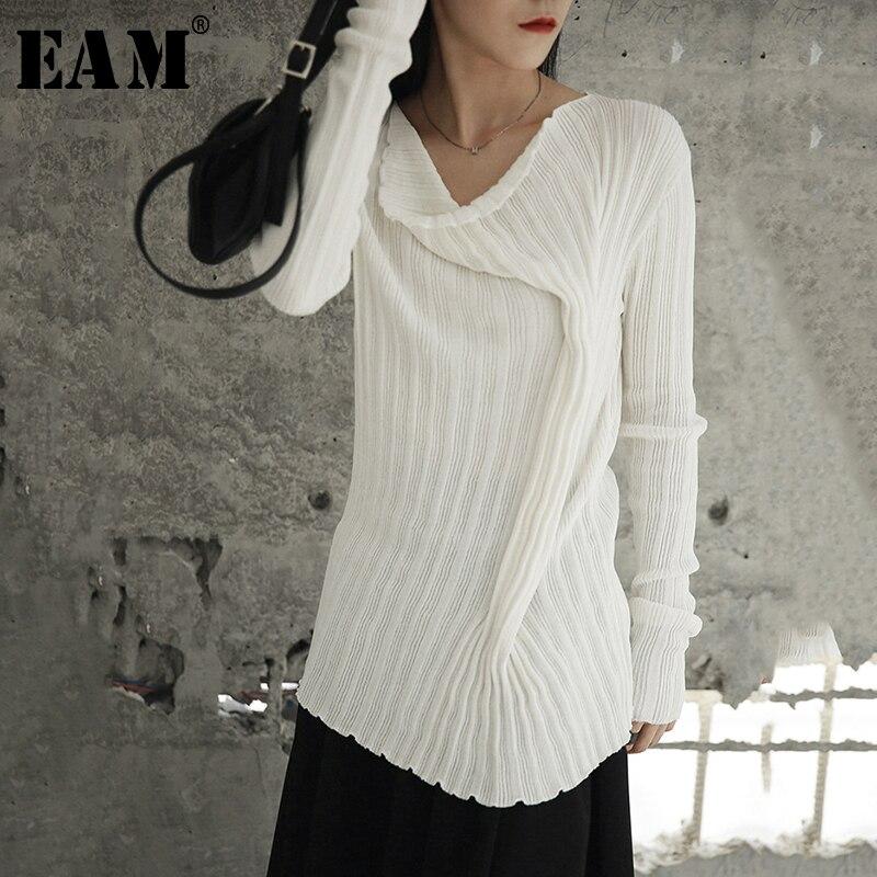 [EAM] 2019 New Autumn Winter High Collar Long Sleeve Black Lose Pocket Split Joint Knitting Sweater Women Fashion Tide JI097