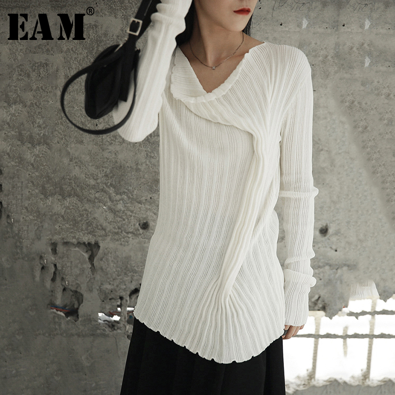 [EAM] 2019 New Spring Round Neck Long Sleeve White Fold Loose Knitting Brief Sweater Women Fashion Tide All-match JH431