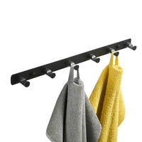 Leyden Black Coat Hook Rack with 6 Round Hooks,Wall Mounted Towel Hanger Stainless Steel Perfect Home Storage