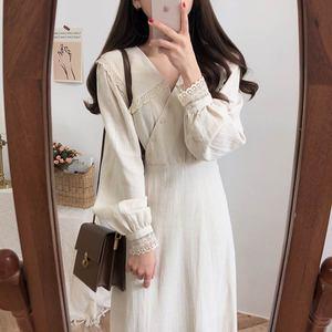 Image 5 - Vintage Cotton Dresses Women Spring Autumn Dress 2019 Design Patchwork Hollow Out Lace Cute Preppy Girls Lady Cute Dress Long