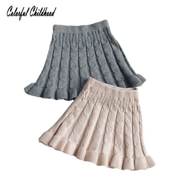 22642a5c5184 Cotton knitted baby girls skirt Spring autumn Solid color stripe ...