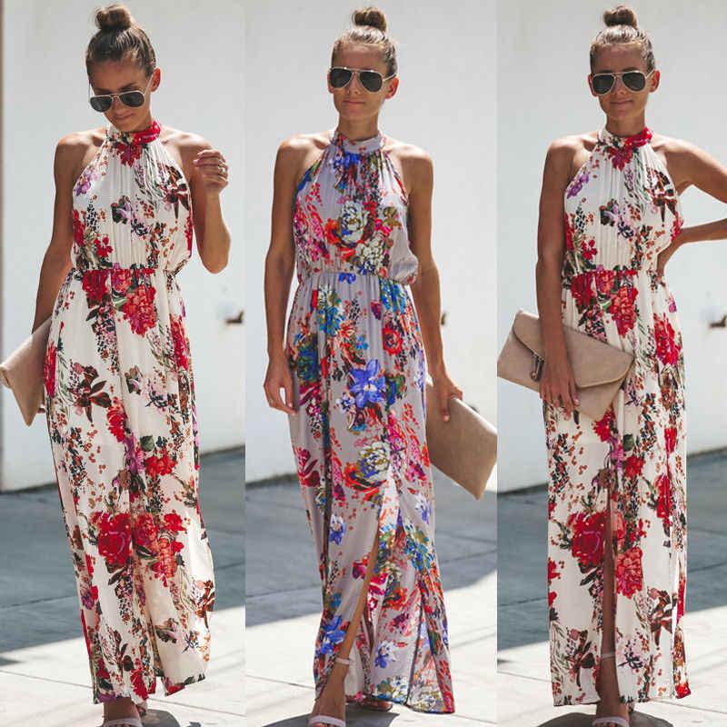 ผู้หญิง Boho Long Maxi ชุดราตรีชุดราตรีชุดชายหาด Sundress Floral ชุดยาว