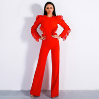 red bodysuit jumpsuit body femme combinaison femme Long Sleeve Sexy backless Hollow Out tunic Pants black jumpsuits for women