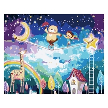 Children cartoon Frameless Pictures Painting By Numbers DIY Digital Oil Europe Home Decoration pictures