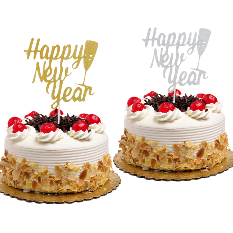 1pc Cheers New Year Cake Topper Christmas Happy New Year Cake Flag Xmas New Year Party Cake Decor Gold Silver in Cake Decorating Supplies from Home Garden