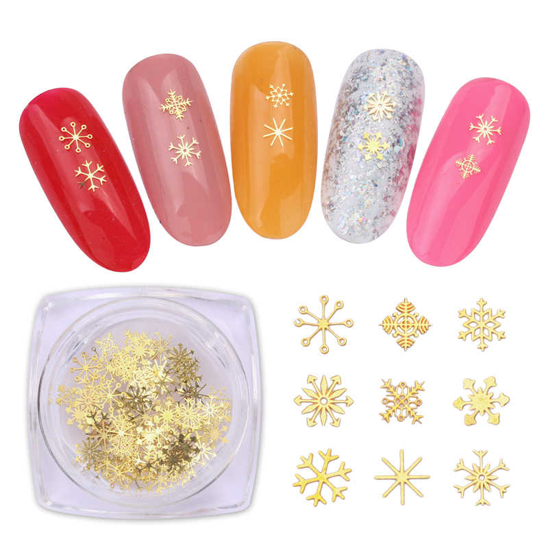Fashion 1Box Gold Color Snowflakes Mixed Shapes Nail Stickers Geometry Sequins DIY Nail Art  Decorations