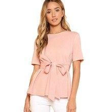 Элегантная одежда для беременных с бантиком Летняя женская Однотонная футболка с коротким рукавом Повседневная офисная OL топы размера плюс