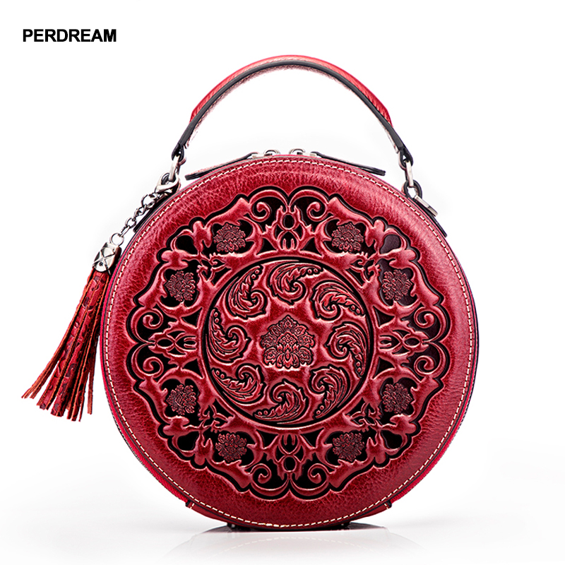Кожаная сумка через плечо женские маленькие круглые сумки ретро китайский стиль Портативная сумка через плечо Сумочка в форме цилиндра из ... - 4