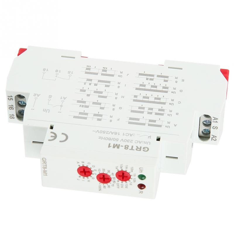 Delay Time Relay GRT8-M1 Multifunctional Time Relay with 10 Functions 35MM DIN Rail Mount AC//DC 12V~240V 50-60Hz