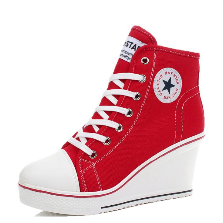 Women Wedges Badge High Top Platform Shoes Woman RED Black Casual Trainers Elevator Shoe High Heels Canvas Shoes Eur 35-43Women Wedges Badge High Top Platform Shoes Woman RED Black Casual Trainers Elevator Shoe High Heels Canvas Shoes Eur 35-43