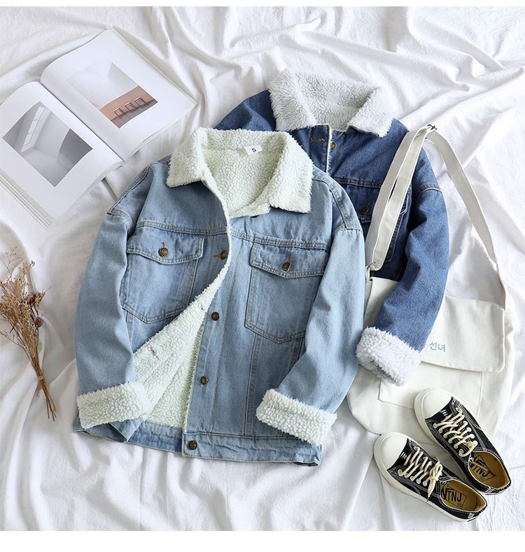 Spring Fur Jean Denim Jacket Women Winter Front Button Flap Pockets Blue Bomber Jacket Coat